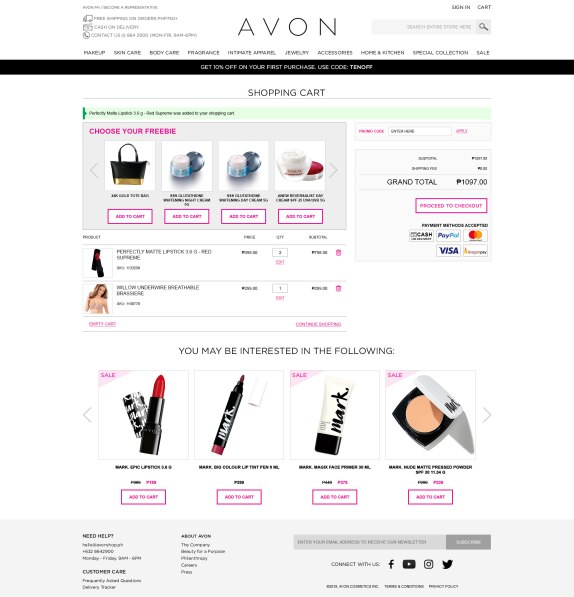 Avonshop.ph Shopping Cart Page