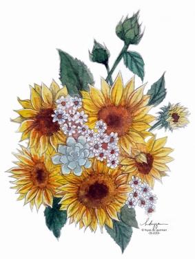 Watercolor flowers - Sunflowers